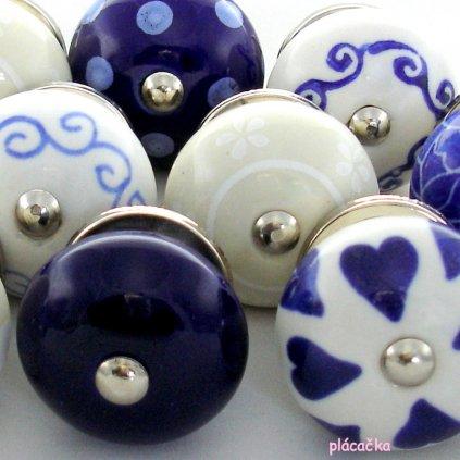 Výhodná sada 12 ks úchytek-Modrá, krém a bílá
