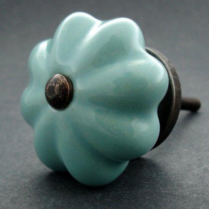 Keramická úchytka-Tyrkysový květ