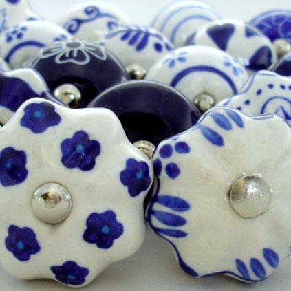 Výhodná sada 18 ks úchytek-Modrá a bílá