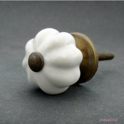Keramická úchytka-Bílá kytička-MINI