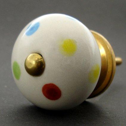 Keramická úchytka-Barevné puntíky