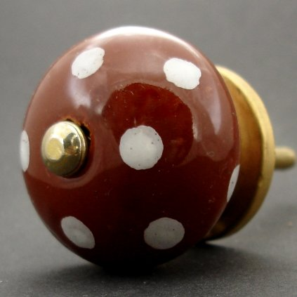 Keramická úchytka-Čokoládová s puntíky