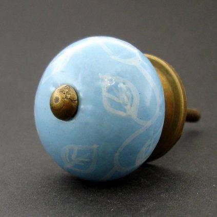 Keramická úchytka-Modrá s lupínky