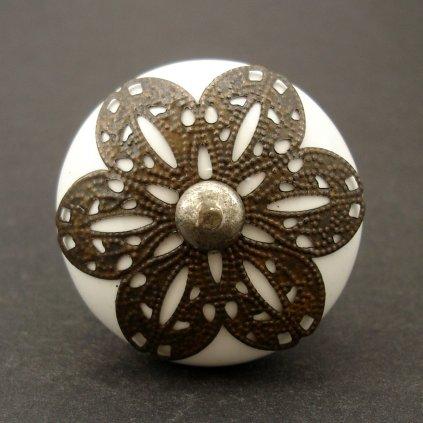 Keramická úchytka- Vintage květ II