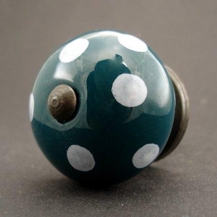 Keramická úchytka-Petrolej s puntíky