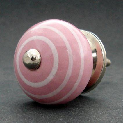 Keramická úchytka -Růžová s proužky