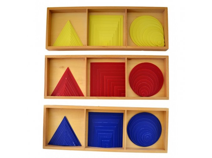 barevne kruhy tverce a trojuhelniky