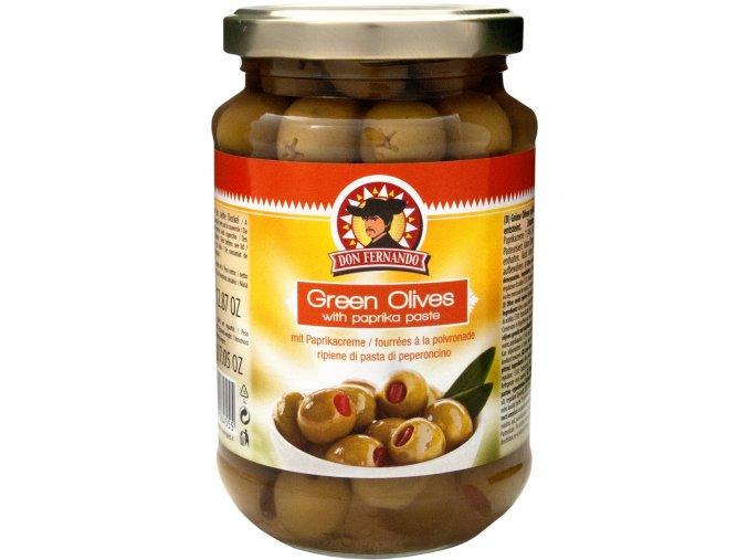 zelene olivy plnene paprikovym kremem 350g