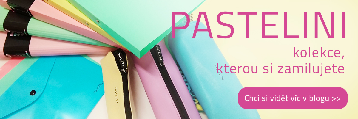 pastelini, kolekce pořadačů bloků a kancelářských potřeb v pastelových barvách