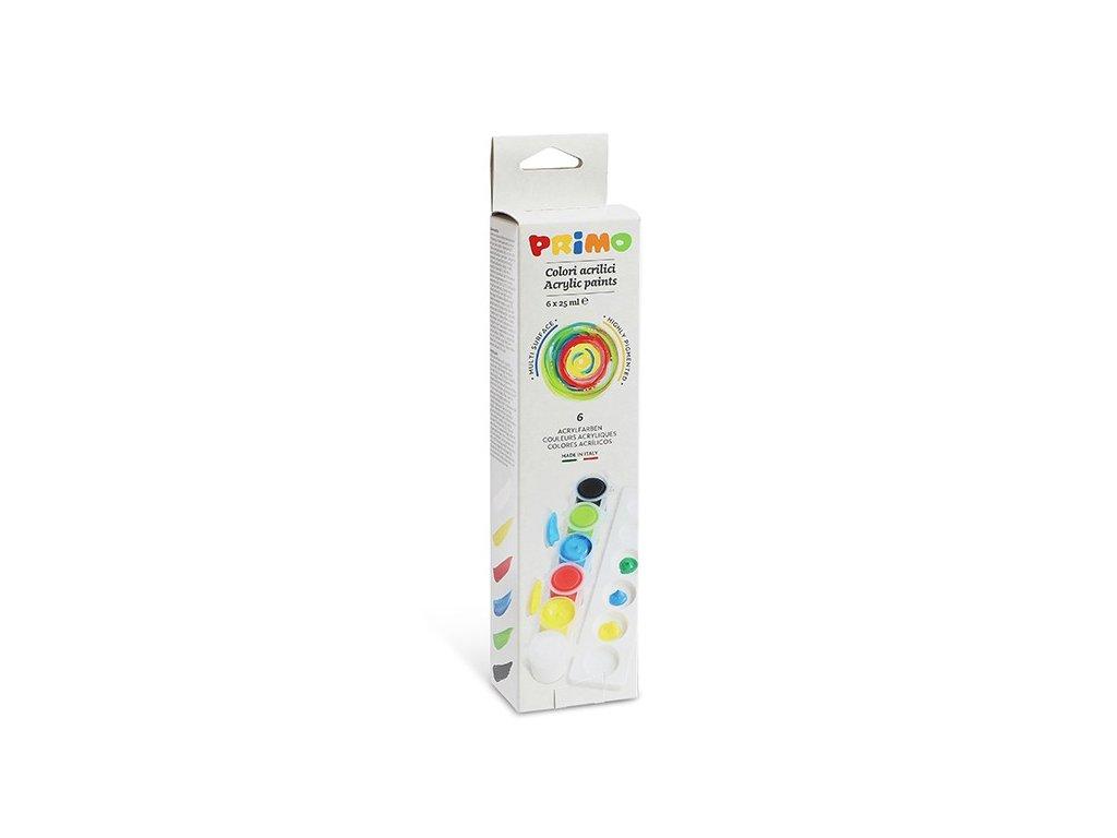 Akrylové barvy PRIMO, sada 6 x 25 ml, paleta, blistr