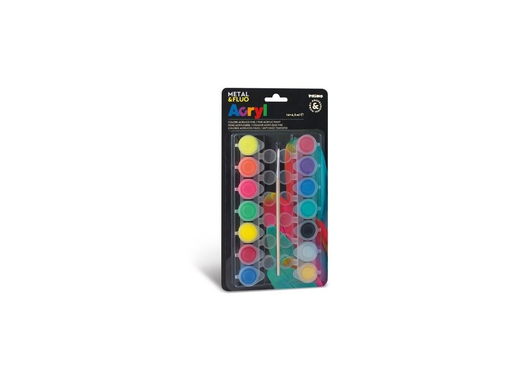 Akrylové barvy PRIMO FLUO+METAL, 14 x 4,5ml, blistr