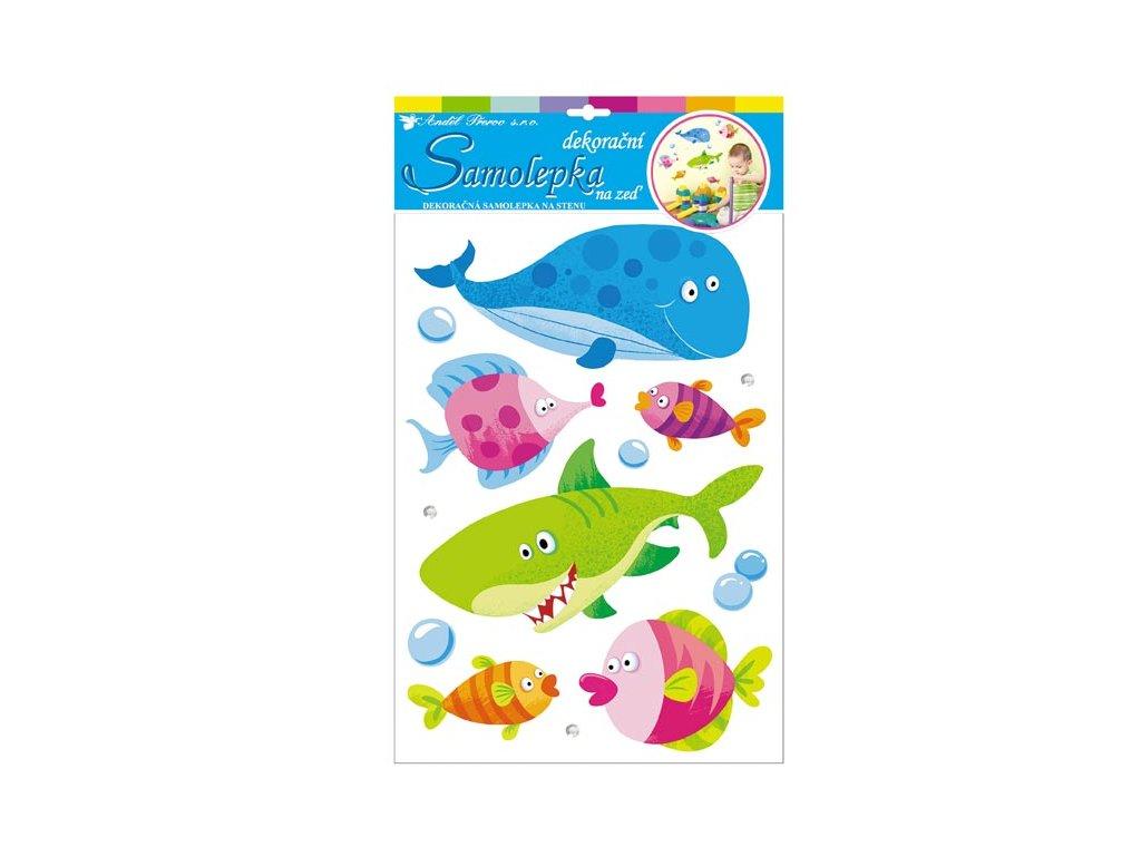 Samolepicí dekorace 10124 3D ryby z tvrdého papíru 41x29cm