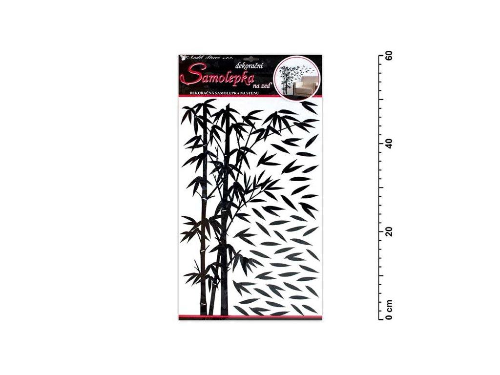 Samolepící dekorace 10150 bambus černý s lístky 60x32cm