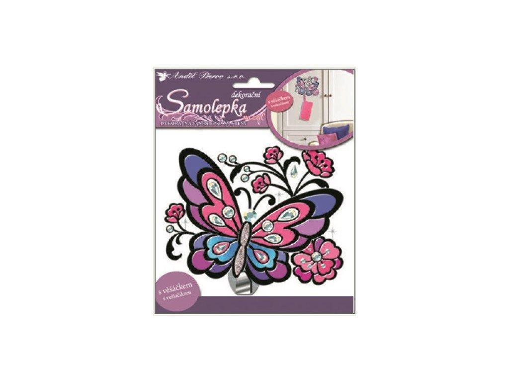 Dekorace pokojová barevná motýl + věšáček