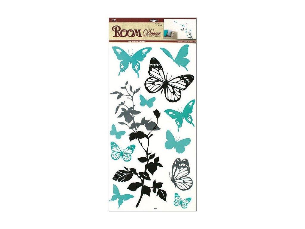 Dekorace pokojová motýlci modro-šedí