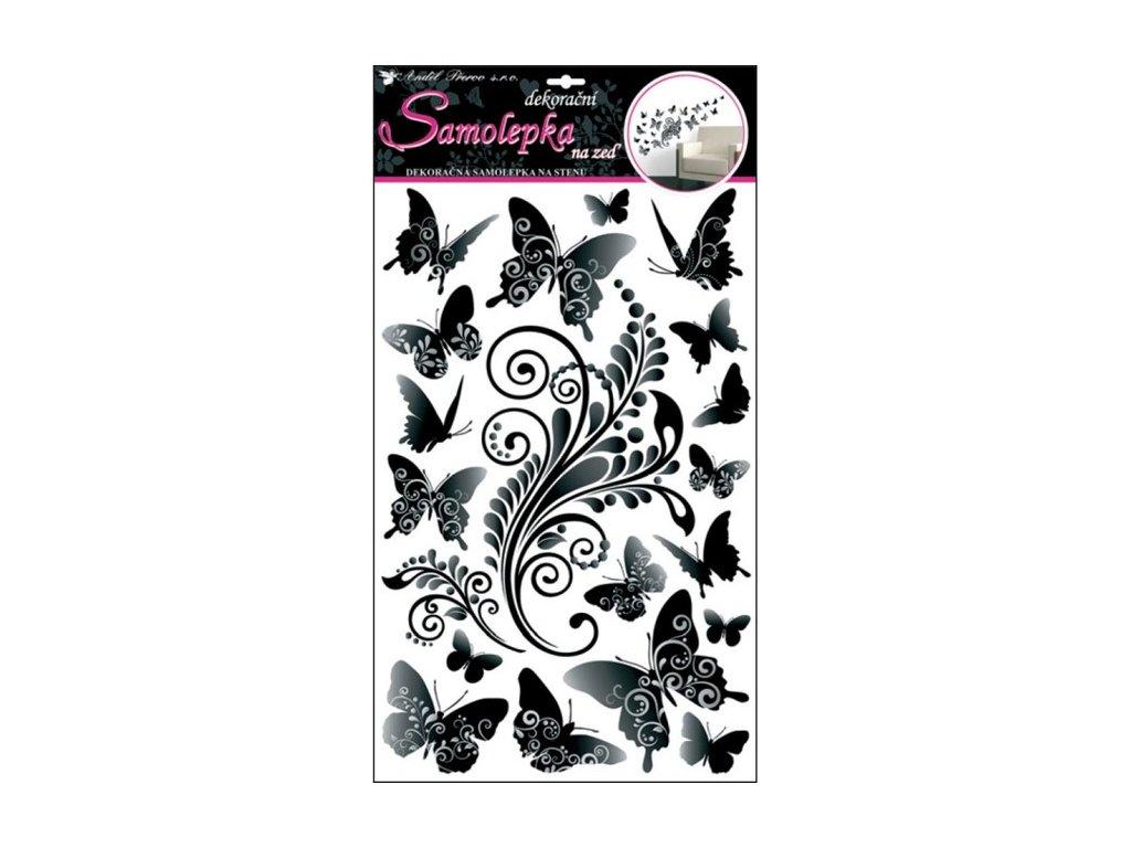 Dekorace pokojová motýli černo-šedí