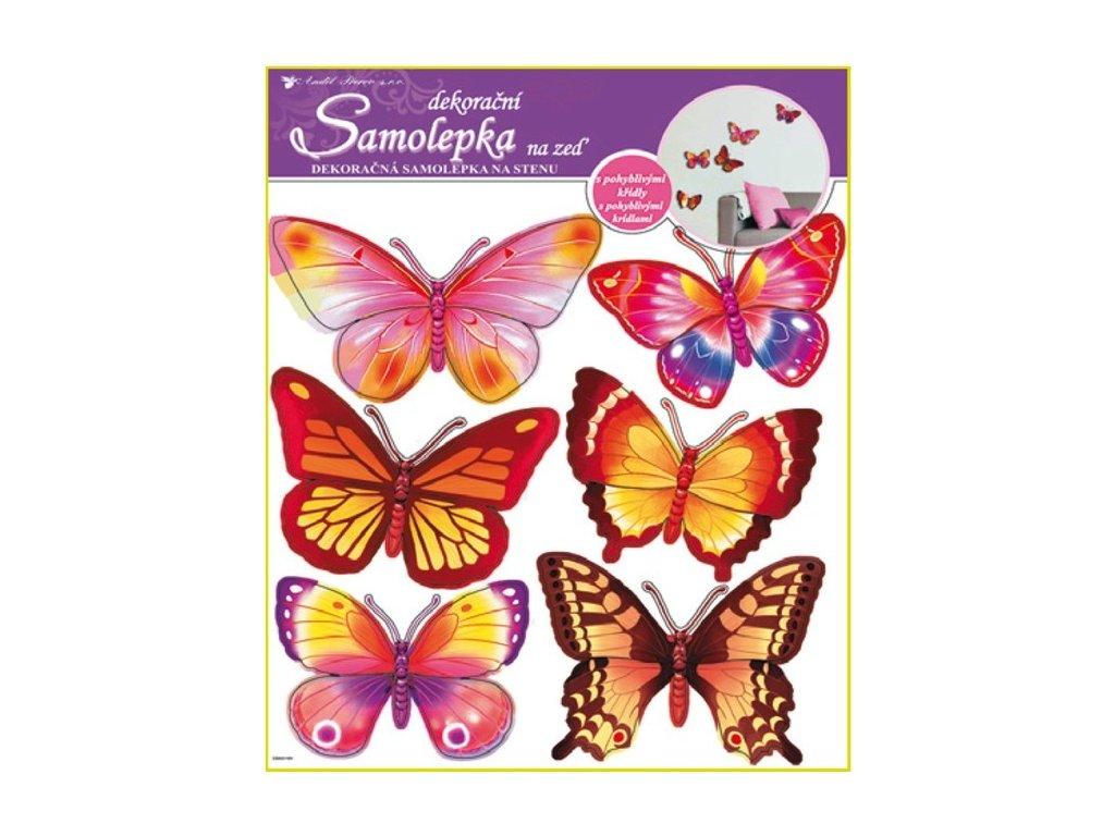 Dekorace pokojová motýli žlutí a růžoví