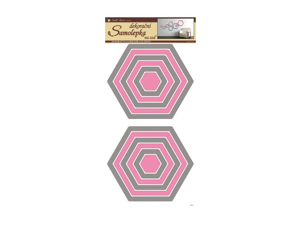 Dekorace pokojová šestiúhelníky šedo-růžové
