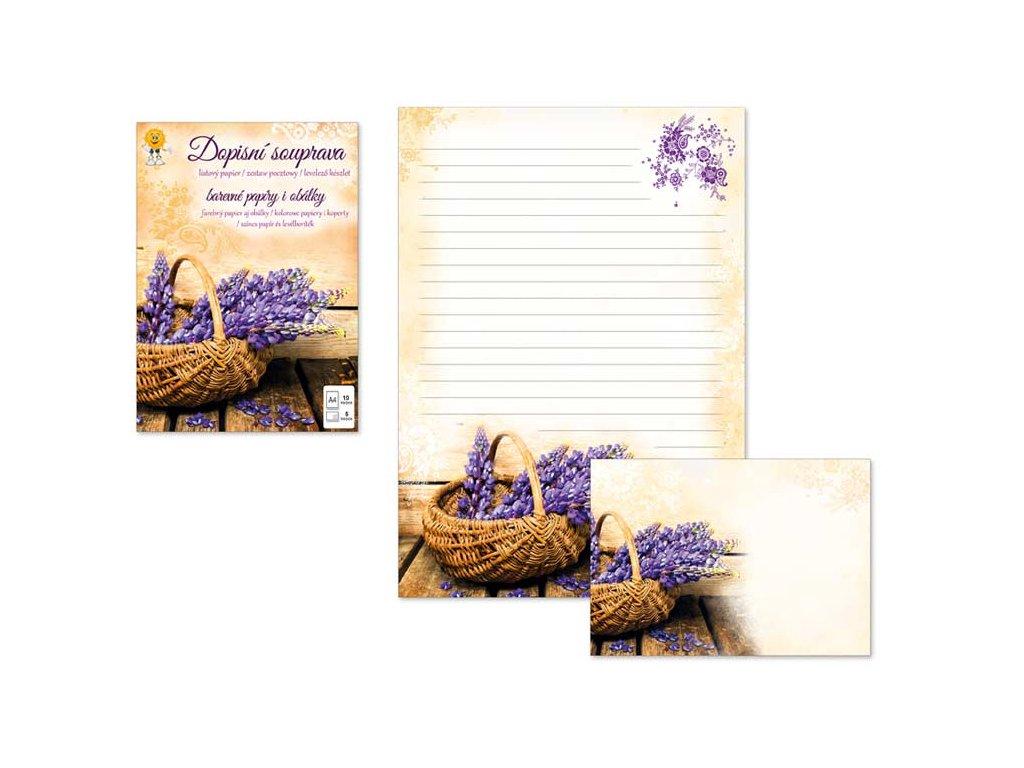 Dopisní papír barevný LUX 5+10 (Košík)