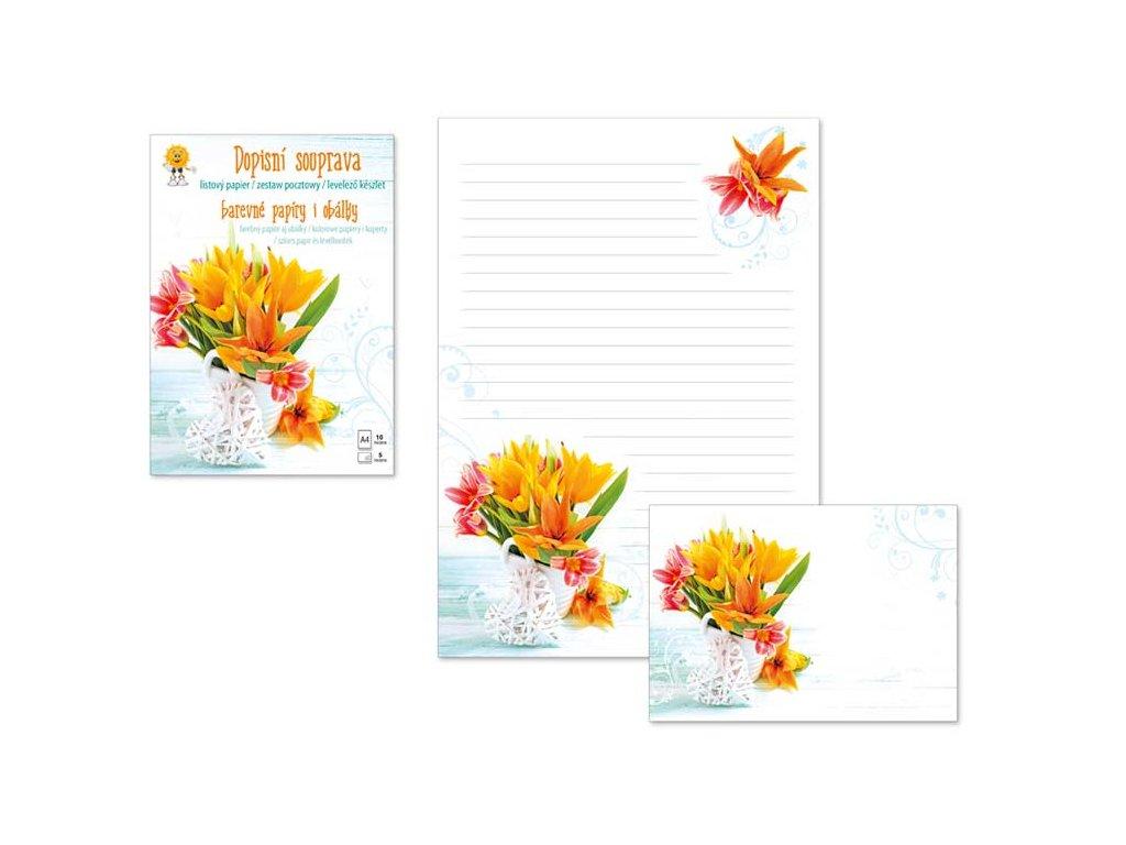 Dopisní papír barevný LUX 5+10 (Květy 4)