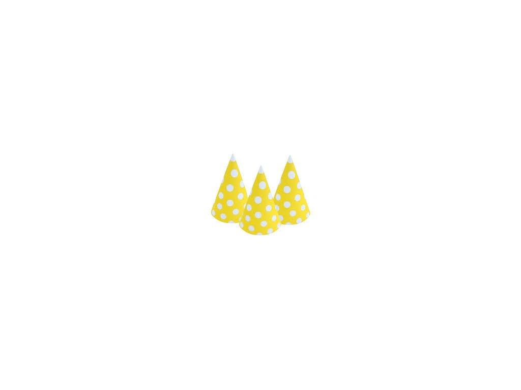 Klobouček žlutý puntík 6 ks