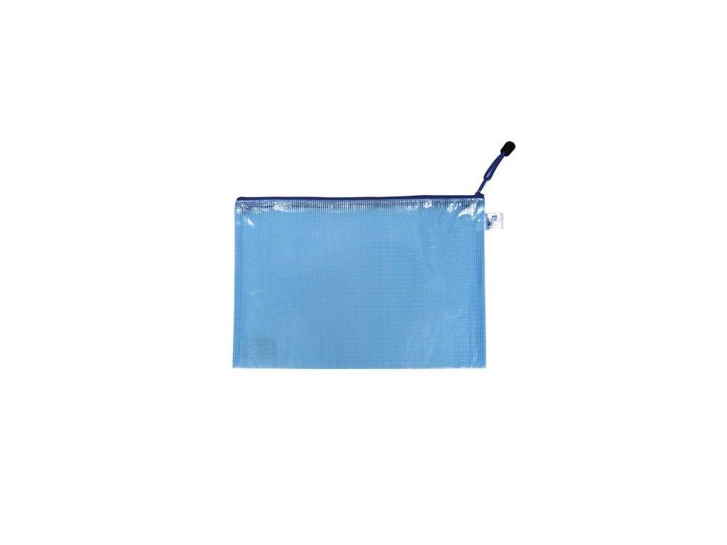 Obálka A5 síťovaná se zipem modrá