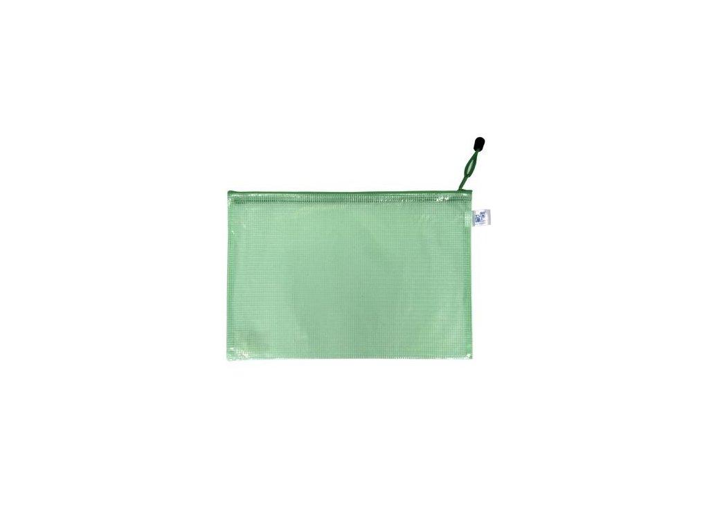 Obálka A5 síťovaná se zipem zelená