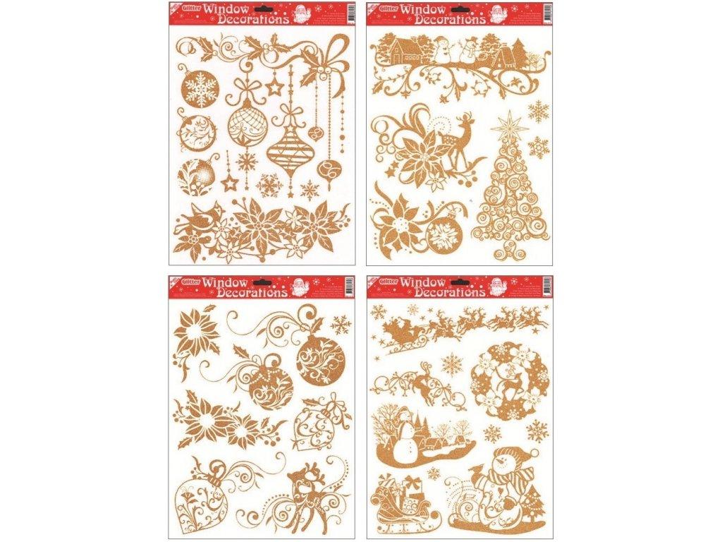 Okenní dekorace zlaté vánoce