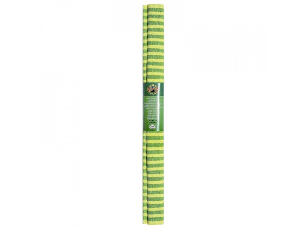papir krepovy pruhovany zluto zeleny