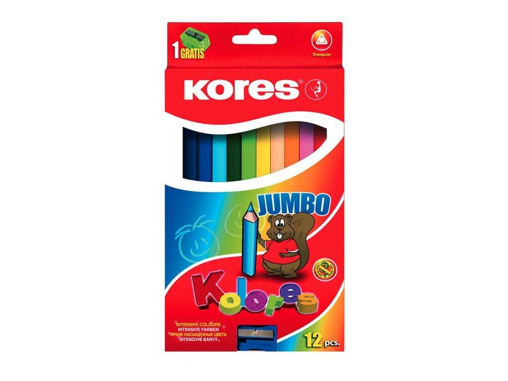kores pastelky trojhranne jumbo 12 barev