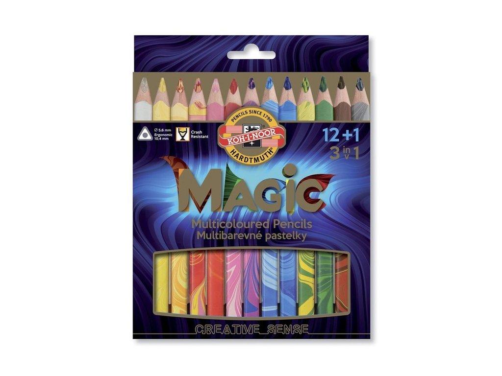 Pastelky Magic 12 ks s ořezávátkem a gumou
