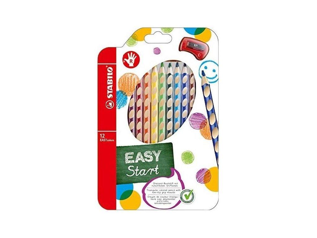 Pastelky Stabilo EASYcolors trojhranné 12ks s ořezávátkem pro praváky