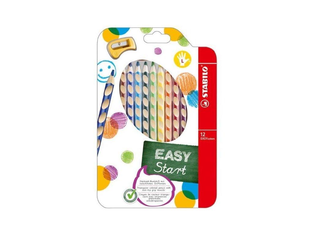 Pastelky Stabilo EASYcolors trojhranné 12ks s ořezávátkem pro leváky