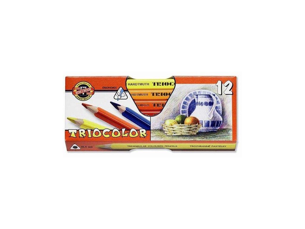 Pastelky TRIOCOLOR 12 ks lakované trojhranné 3152 12