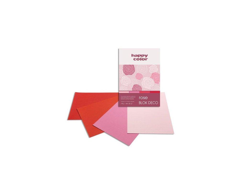 Barevný papír A4 170g 20l 5 odstínů růže