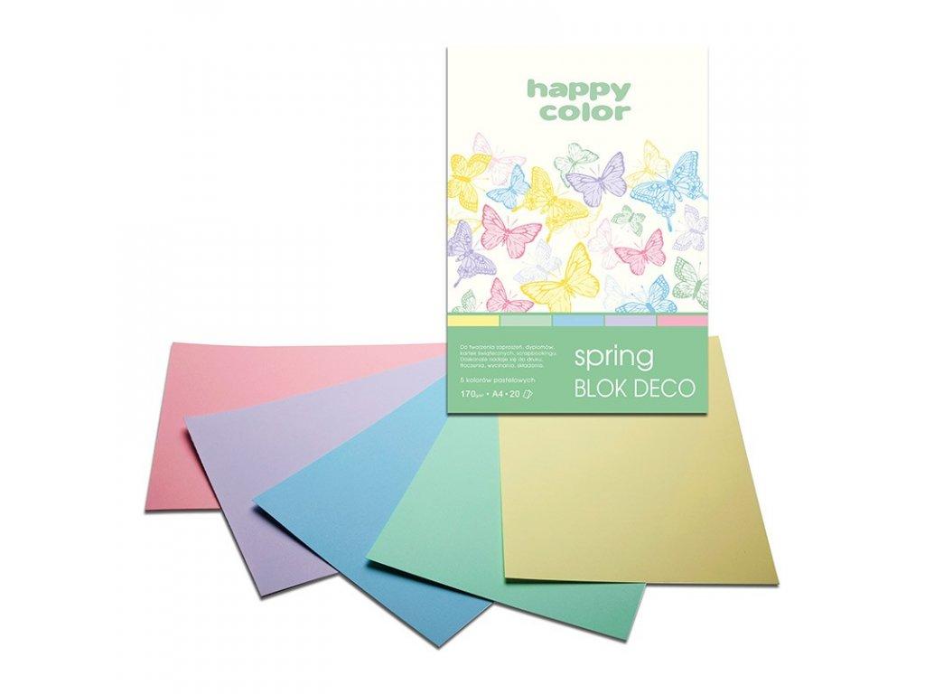 Barevný papír A4 170g 20l 5 odstínů jarní pastelové