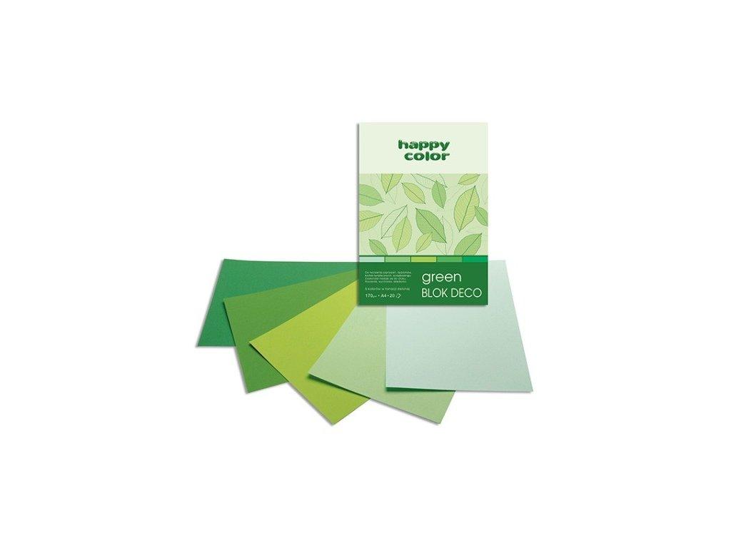 Barevný papír A4 170g 20l 5 osdtínů zelené