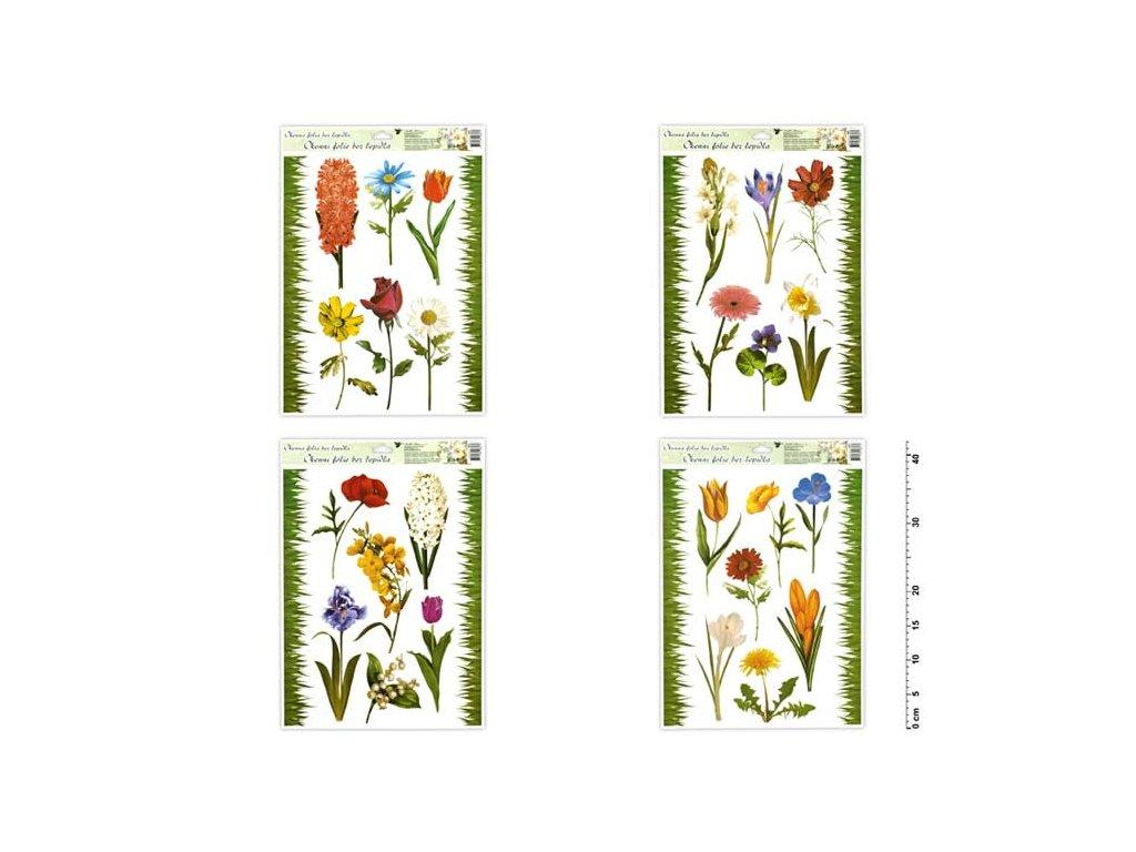Okenní fólie 886 travička a květinky 42x30cm