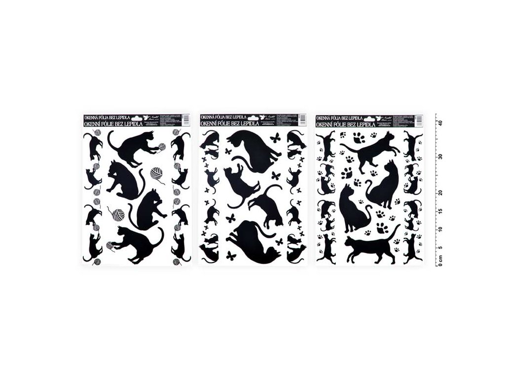 Okenní fólie 893 černé kočky 42x30cm