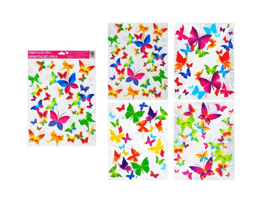 Okenní fólie 895 rohová barevní motýli 42x30cm