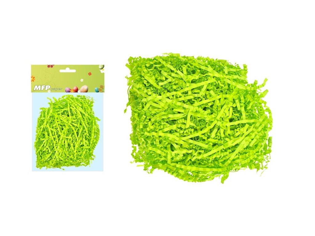 Tráva dekorační 20g zelená papírová