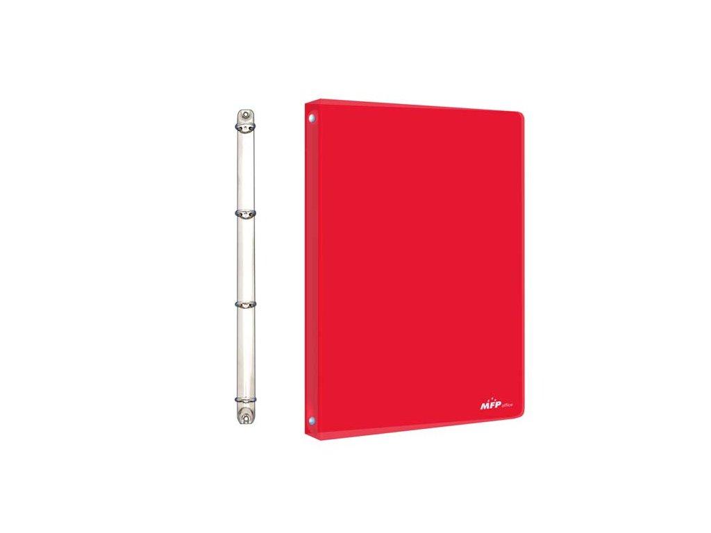 Pořadač M 4-kroužek červený PP A4