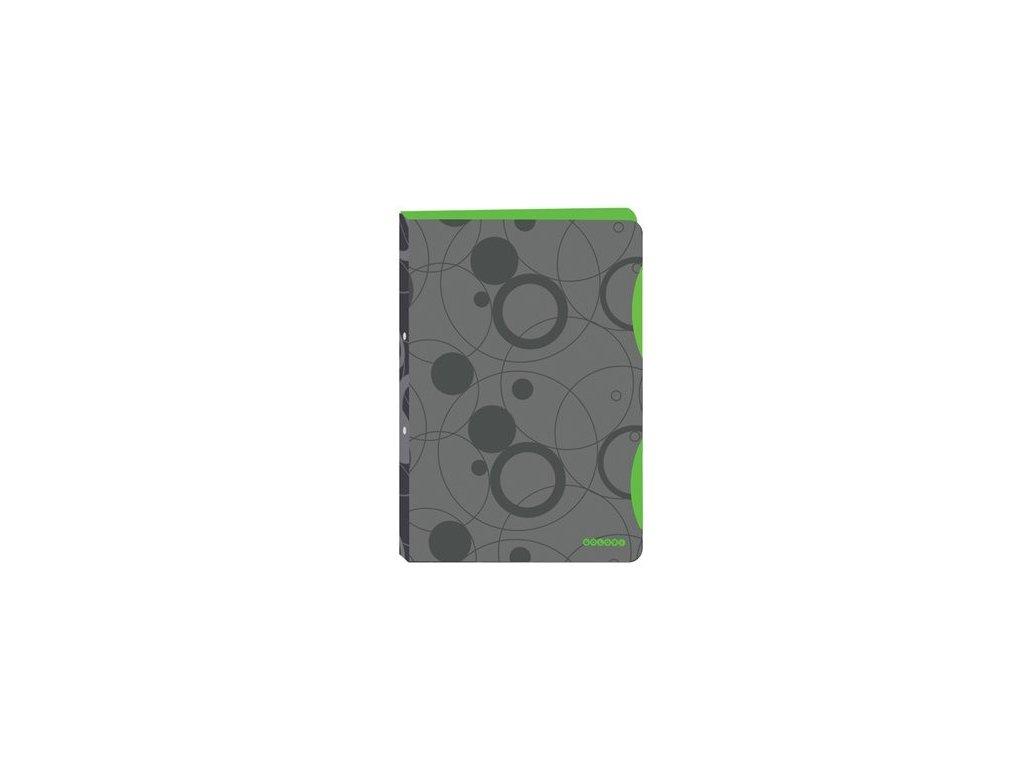Pořadač 4kroužkový A4  PP šedo-zelený