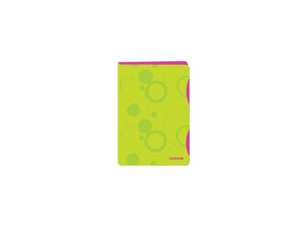 Pořadač 4kroužkový A4  PP zeleno-růžový