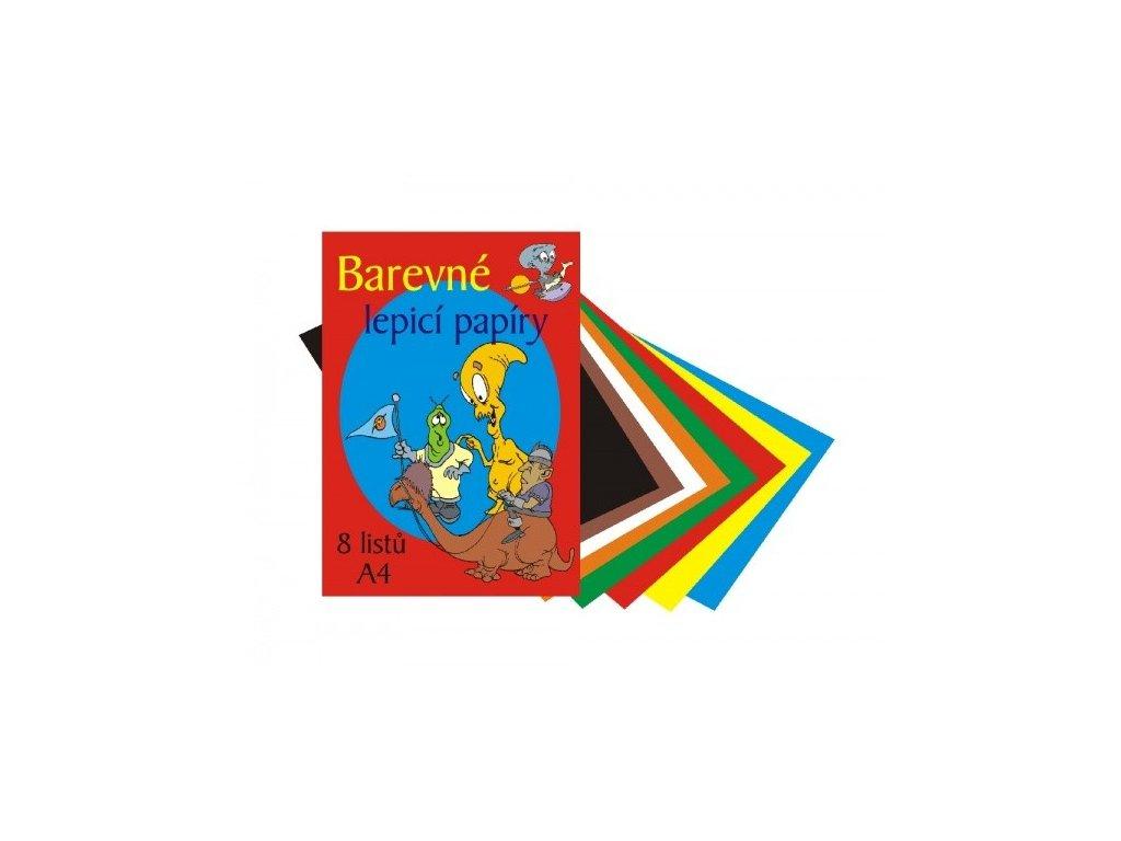 Složka barevných papírů lepících 8 listů