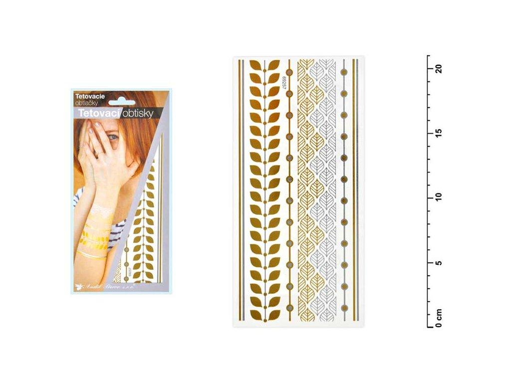 Tetovací obtisky 1119 zlaté a stříbrné 21x10,5 cm-lístky