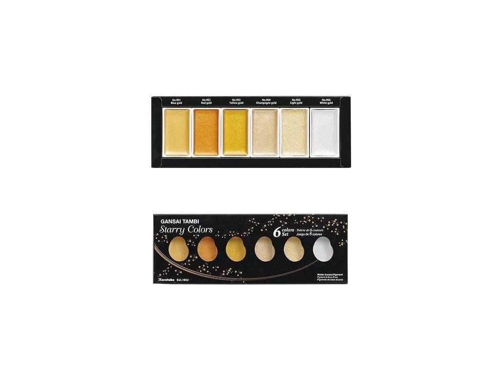 akvarelove barvy gansai zlate