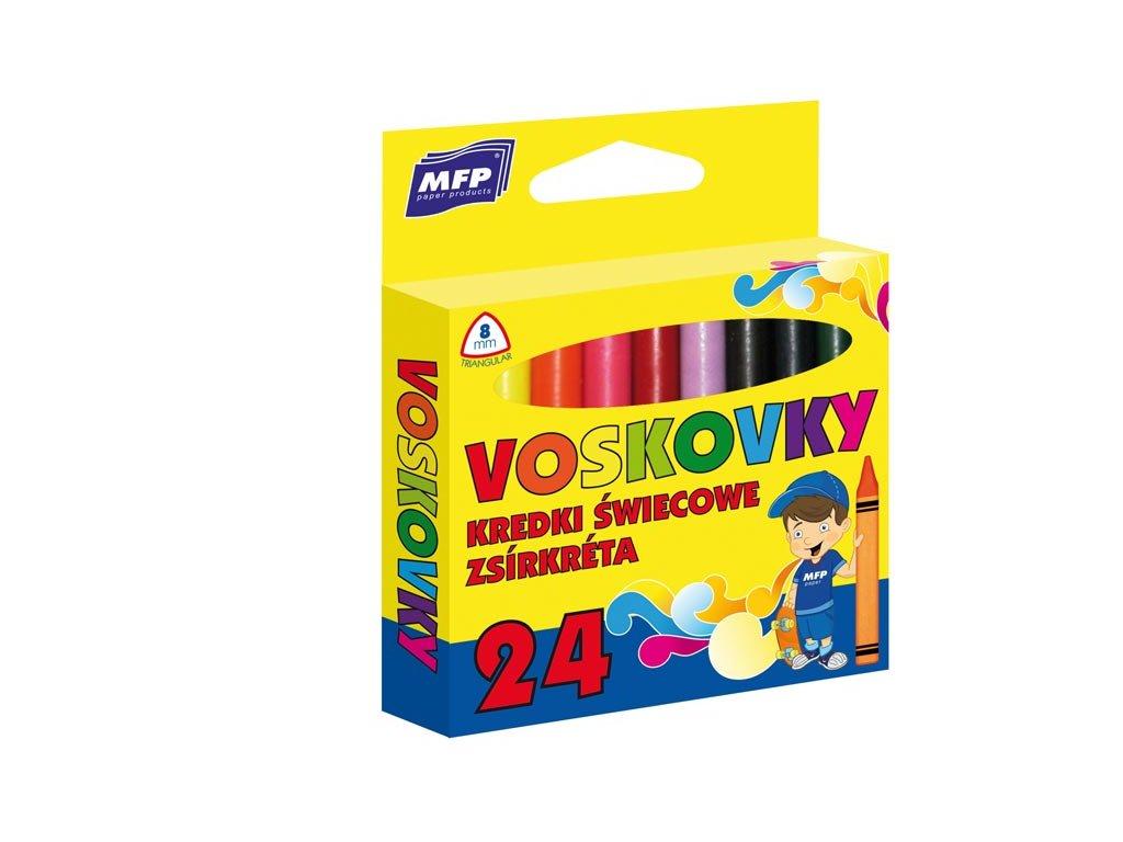 Voskovky  24 barev - trojhranné
