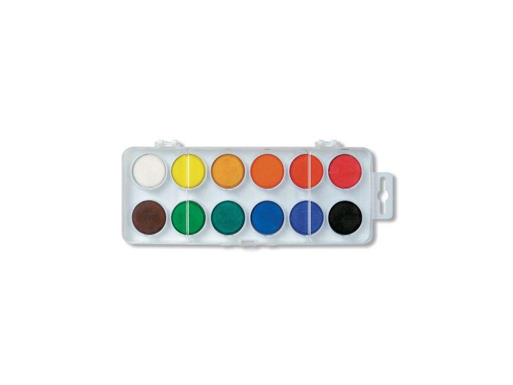 Barvy vodové malé 12 barev x 22 mm bílé