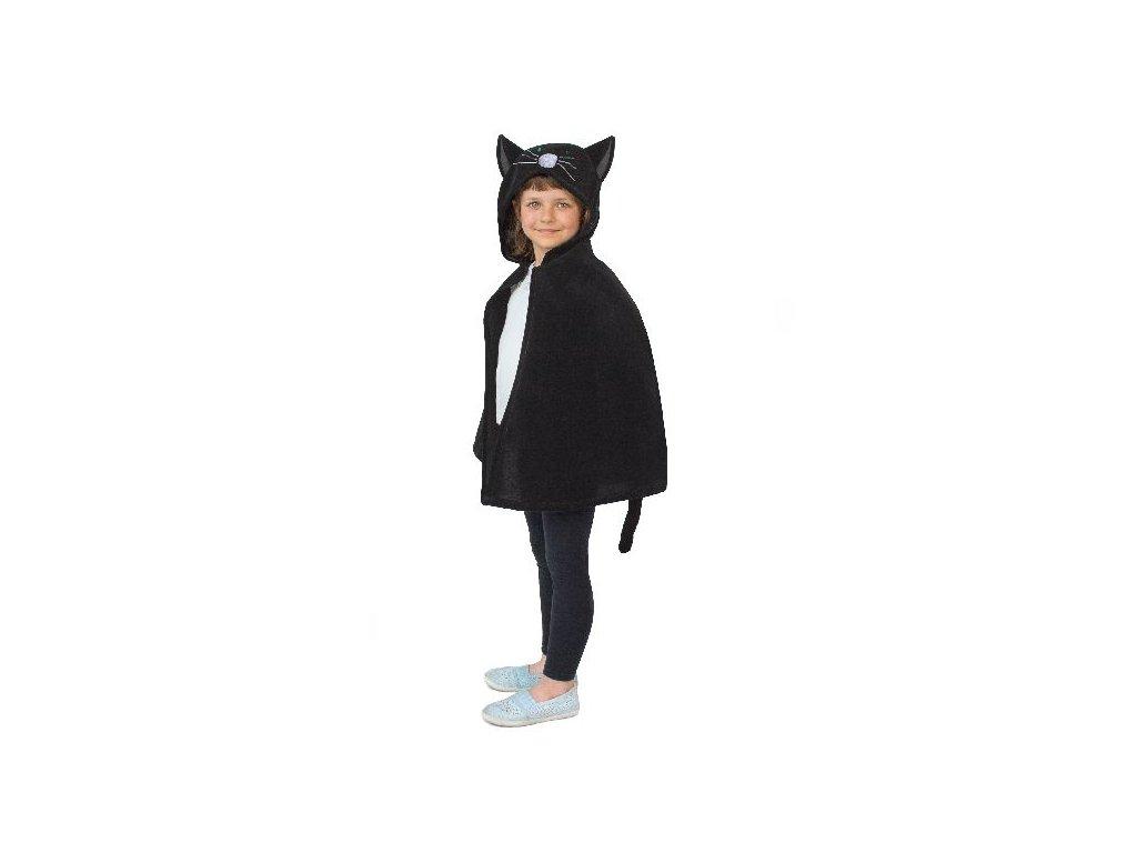 Pelerína Kočka černá s kapucí délka 60cm